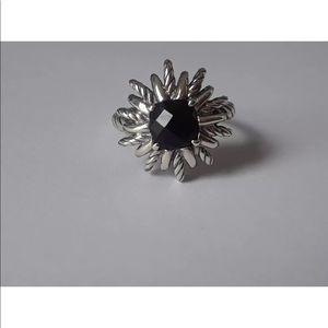 DY 7x7mm Black Onyx Starburst Ring Sz 8